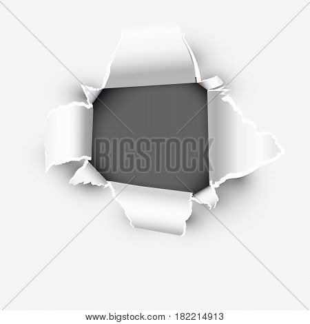 Opening showing space in torn paper vector illustration isolated on white background.