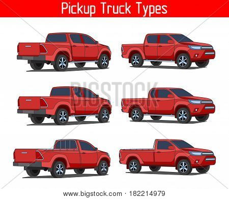 Truck Pickup Types Template Drawing Vector Set