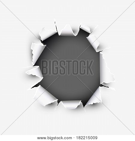 Opening round showing space in torn paper vector illustration isolated on white background.