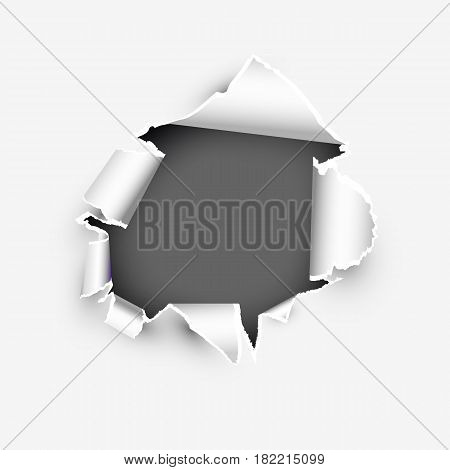 Torn page banner template with copyspase vector illustration isolated on white background.