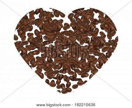 Coffee Beans Hart Shape Isolated on White Background. Vector Illustration.