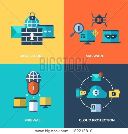 Network security, data protection vector concepts set. Malware and firewall service illustration