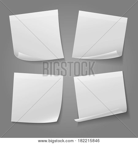 White blank square memo paper sticker vector stock. Message note sticker illustration