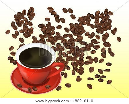 Coffee Beans and Red Cofee Cup Isolated in White Background. Vector Illustration. Eps10.
