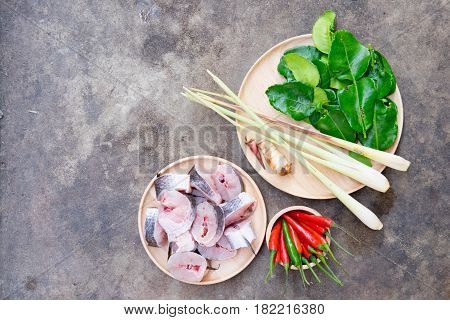 Set of local ingredient soup tom yam Thai style food