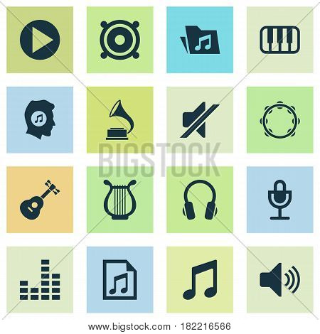 Multimedia Icons Set. Collection Of Dossier, Lyre, Timbrel And Other Elements. Also Includes Symbols Such As Gramophone, Sound, Button.