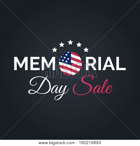 Vector Happy Memorial Day Sale card. National american holiday illustration with USA flag. Festive discount poster or banner with hand lettering.