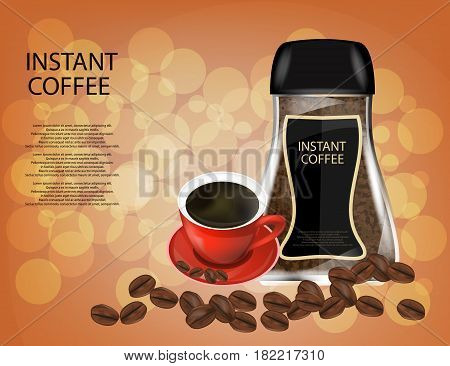 Coffee Glass Jar with Red Cap Instant Coffee Granules and Coffee Beans Isolated on Sparkling Background. Vector Illustration.