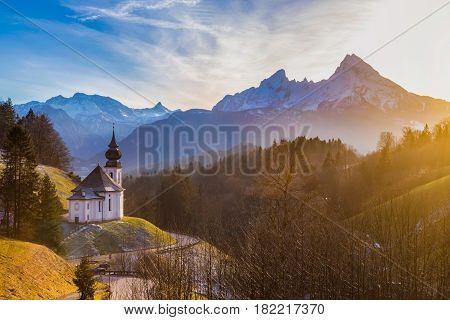 Church Of Maria Gern With Watzmann Mountain At Sunset, Berchtesgadener Land, Bavaria, Germany