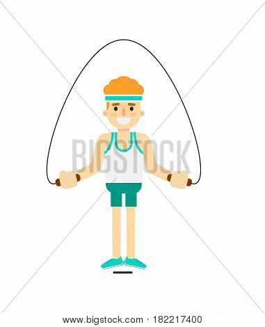 Sporty boy jumping with skipping rope isolated on white background vector illustration. Gymnastic exercise, crossfit training concept in flat design.