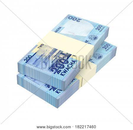 Malawi kwacha bills isolated on white background. 3D illustration.