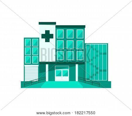 Hospital building vector illustration isolated on white background. Emergency medical service, medical center.