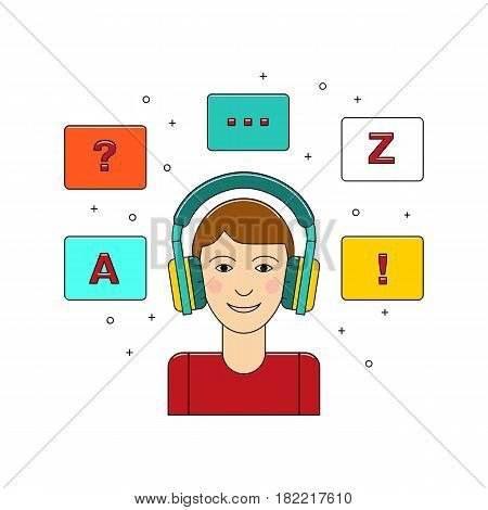 Learn language concept with boy in headphone vector illustration isolated on white background. Foreign language study icon in flat design