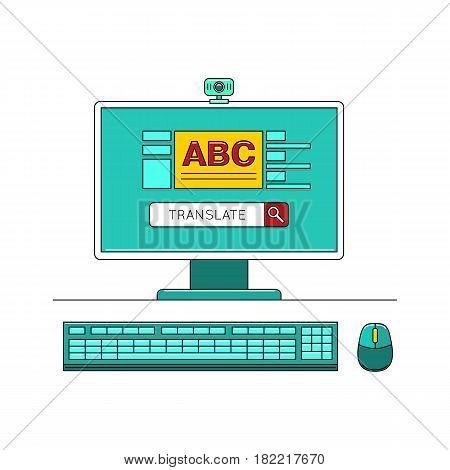 Online learn language concept with desktop computer vector illustration isolated on white background. Foreign language study icon in flat design