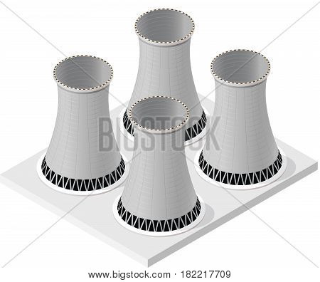 Vector isometric cooling system of nuclear power plant, isolated on white background. Four cooling towers of power station. Concrete thermal power plant towers. Industrial architecture.