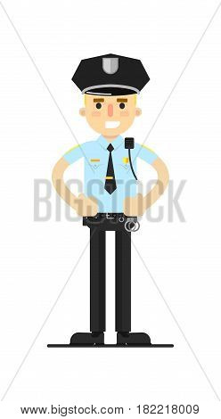Police officer in uniform vector illustration isolated on white background. Patrolman or cop character in flat design.