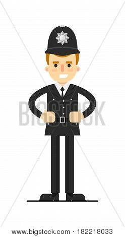 British policeman in uniform vector illustration isolated on white background. Police officer or cop character in flat design.
