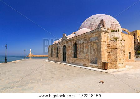 Old mosque in the port of Chania on Crete, Greece