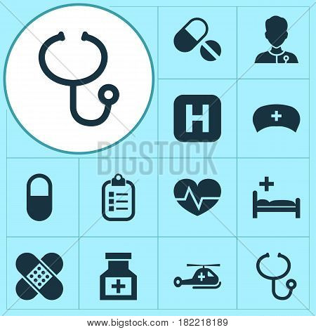 Antibiotic Icons Set. Collection Of Mark, Healer, Review And Other Elements. Also Includes Symbols Such As Medicine, Check, Pellet.