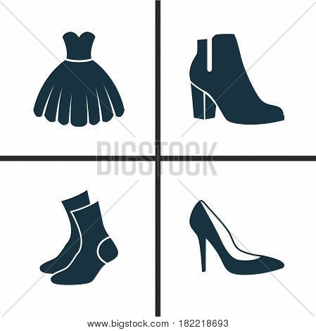 Clothes Icons Set. Collection Of Female Winter Shoes, Heel Footwear, Half-Hose And Other Elements. Also Includes Symbols Such As Sarafan, Garment, Sundress.