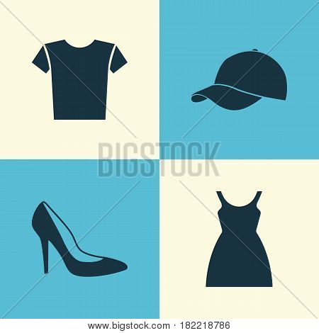 Garment Icons Set. Collection Of Casual, Dress, Trilby And Other Elements. Also Includes Symbols Such As Clothes, Sundress, Trilby.