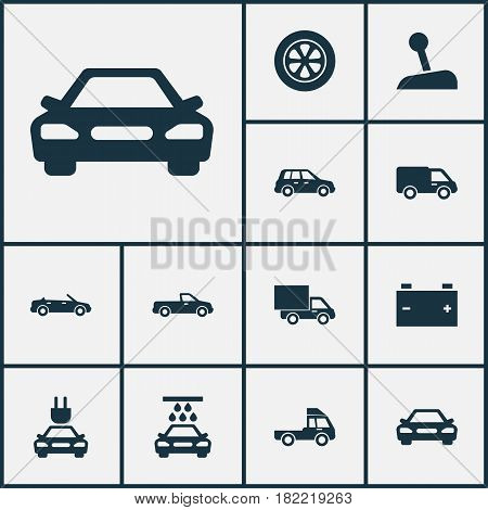 Car Icons Set. Collection Of Transport Cleaning, Carriage, Lorry And Other Elements. Also Includes Symbols Such As Tire, Pickup, Battery.
