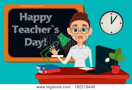 Teacher sitting at her desk while lesson in classroom. Cheerful female instructor in glasses. Happy Teacher's Day. - stock vector
