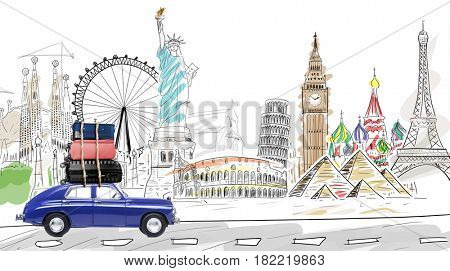Around the world. Blue retro toy car with travel cases driving by famous monuments.