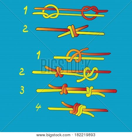 Fisherman`s knot and Double Fisherman`s knot steps of making