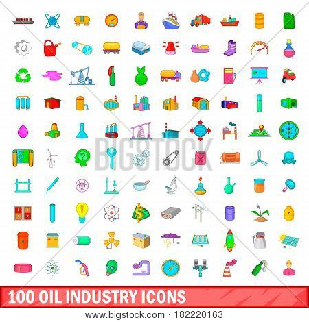 100 oil industry icons set in cartoon style for any design vector illustration