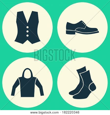 Dress Icons Set. Collection Of Half-Hose, Sweatshirt, Elegance And Other Elements. Also Includes Symbols Such As Socks, Half-Hose, Shoes.