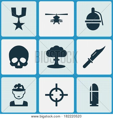 Combat Icons Set. Collection Of Military, Slug, Chopper And Other Elements. Also Includes Symbols Such As Oficer, Military, Soldier.