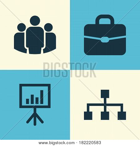 Business Icons Set. Collection Of Hierarchy, Group, Suitcase And Other Elements. Also Includes Symbols Such As Hierarchy, Team, Suitcase.