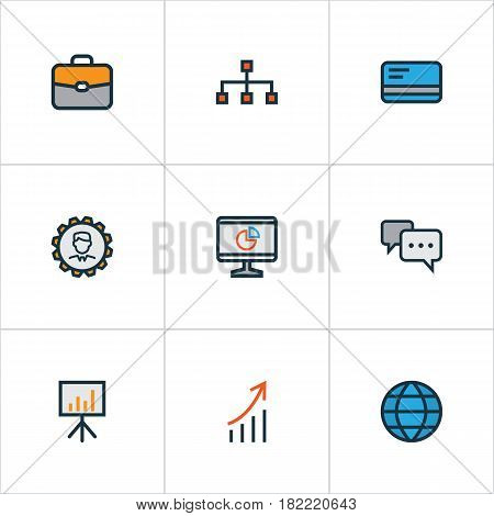 Business Colorful Outline Icons Set. Collection Of Pie Chart, Administrator, Network And Other Elements. Also Includes Symbols Such As Global, Engineer, Hierarchy.