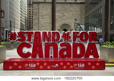 TORONTO-CANADA, APRIL 10, 2017:  Canada sign in downtown Toronto to celebrate the 150 anniversary of Canada
