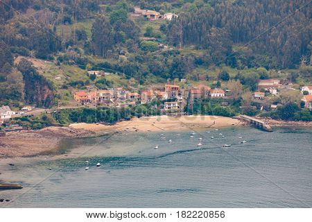 Aerial view of a little village in Galicia at northwest of Spain