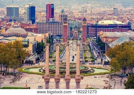 Aerial top view of Barcelona, Catalonia, Spain in the spring