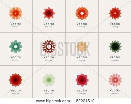 Color geometric symbols set. Vector ornamental emblems