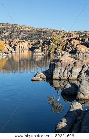 a scenic fall reflection at Watson Lake Prescott Arizona