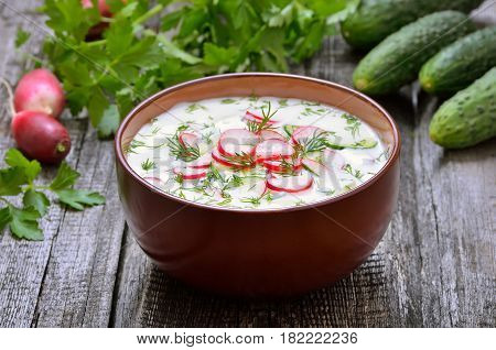 Yoghurt cold soup with fresh vegetables on wooden table