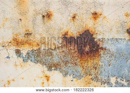 Metal Iron Rust With Peeling Paint Background And Texture