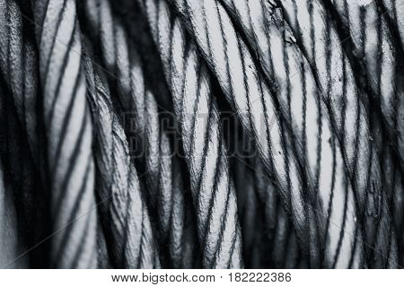 Old Aged Steel Cable Steel Wire Or Steel Rope, Rope Sling Drum Black And White Tone.