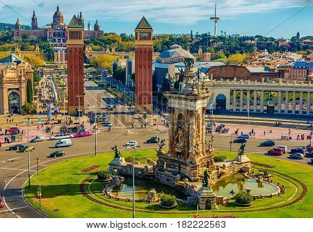 Aerial top view of Barcelona, Catalonia, Spain in the spring. Placa d'Espanya, Plaza de Espana, the Spanish Square. The Palau National, National Palace, National Art Museum of Catalonia