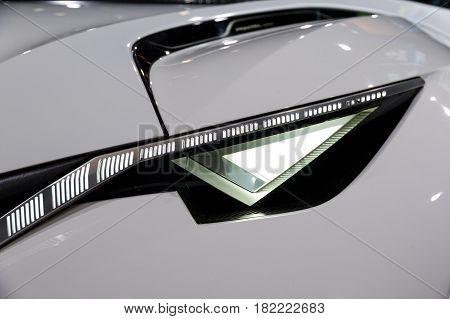 Peugeot Fractal Car Headlight Close Up