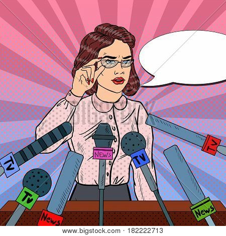 Confident Woman Answering Questions on Press Conference. Mass Media Interview. Pop Art Vector illustration
