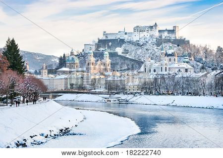Beautiful View Of Salzburg Skyline With Festung Hohensalzburg And River Salzach In Winter, Salzburge