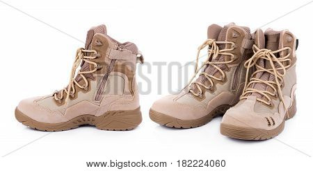 brown combat boots isolated on white background