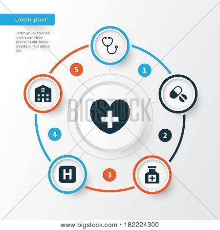 Medicine Icons Set. Collection Of Retreat, Device, Painkiller And Other Elements. Also Includes Symbols Such As Pills, Heart, Hospital.