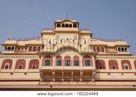 JAIPUR, INDIA - FEBRUARY 16: Chandra Mahal in Jaipur City Palace, Rajasthan, India. Palace was the seat of the Maharaja of Jaipur, the head of the Kachwaha Rajput clan, on February, 16, 2016.