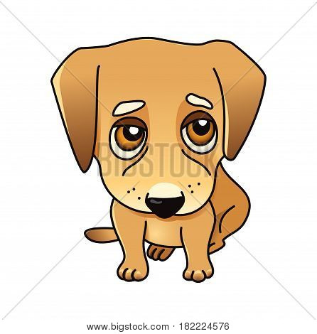 Cute vector dog, labrador puppy isolated on white, golden retriever sad, sorry